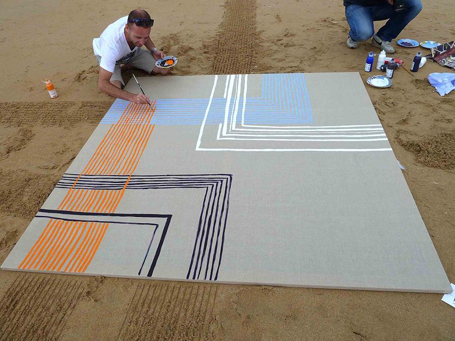 beach art, Iñigo Manterola, San sebastian, peinture, exposition, dougados