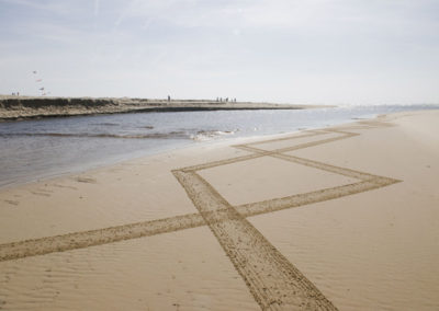 beach art, dougados, Moliets, courant d'Huchet, rivermouth, stream, lines