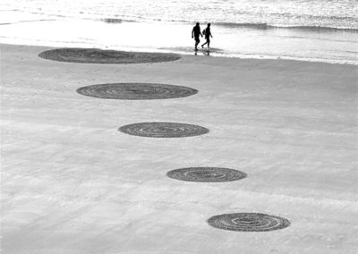 rond, du, couple, lovers, dougados, biarritz, beach art