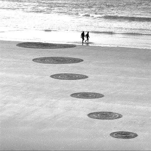 rond, du, couple, lovers, dougados, biarritz, beach art