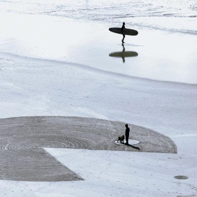 surfer, silhouette, dougados, biarritz, beach art