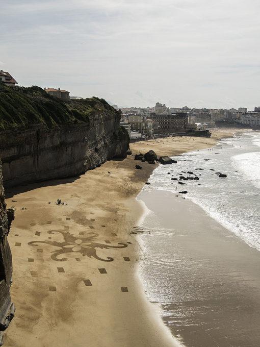 mandal, biarritz, palais impérial, roche percée, dougados, dessin sur le sable, sand drawing