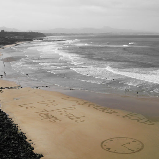 temps, beach art, dougados, montre, clock, biarritz