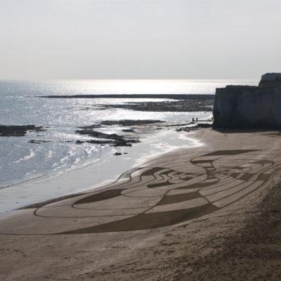 Margate, angleterre, dougados, beach art, sand drawin, target, bolywood