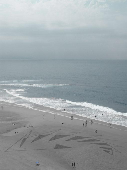 pulsation, dougados,beach art, biarritz, geometry, triangles