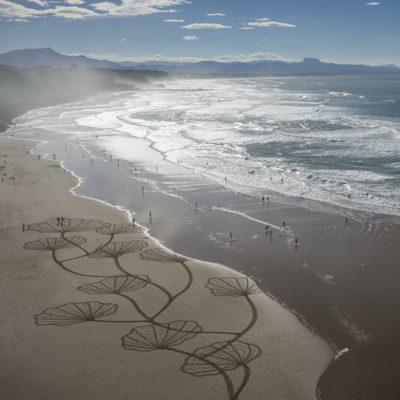 beach art, biarritz, coral, corail, sea view, dougados