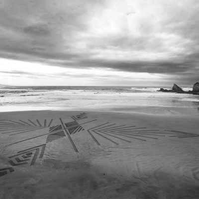 beach art, dougados, biarritz, villa belza, dessin sur le sable, photo, noir et blanc, black and white