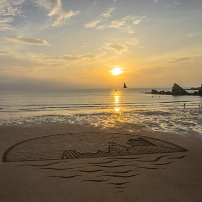 beach art, sam dougados, biarritz, beach, villa belza, sunset, coucher de soleil, bask coast