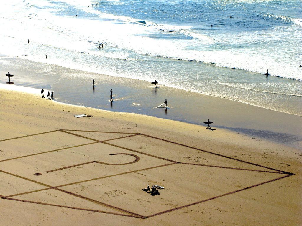 Dougados, biarritz, beach at, photographie d'art, tirage limité, dessin sur sable